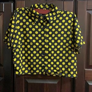 Women's Smiley Face Button Down